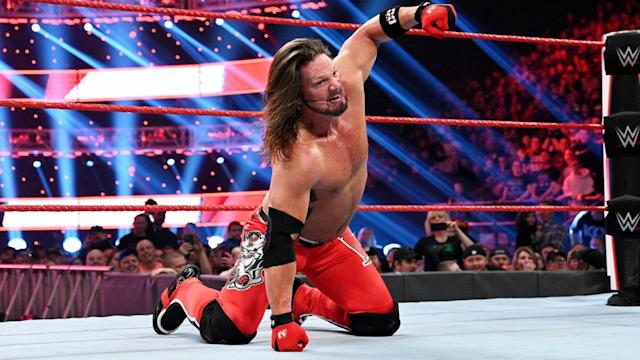 """A.J. Styles is seen during an episode of """"Monday Night Raw"""" on January 13, 2020. (Photo courtesy of WWE)"""