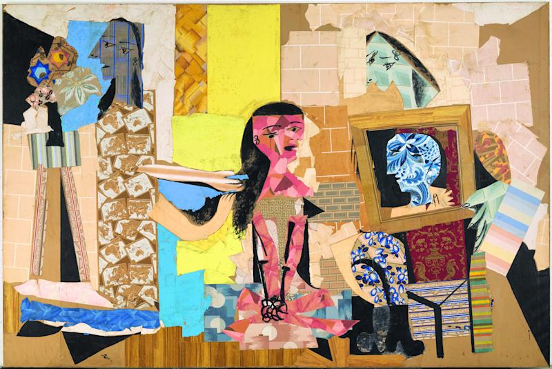 Pablo Picasso, Femmes à leur toilette (1937/8). Collage of cut-out wallpapers with gouache on paper pasted onto canvas.