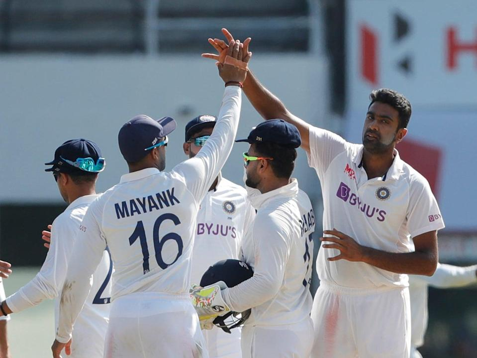 <p>Ashwin celebrates one of five wickets in the second Test</p> (BCCI)