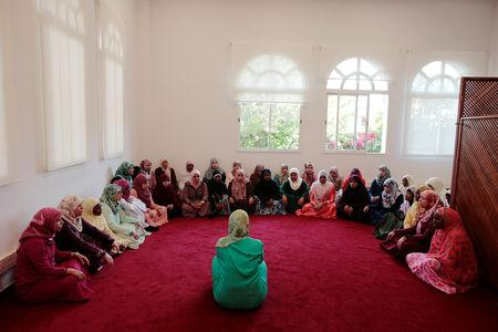 Students learn to recite the Koran at Mohammed VI Institute for training Imams in Rabat, Morocco April 16, 2019. Picture taken April 16, 2019. REUTERS/Youssef Boudlal
