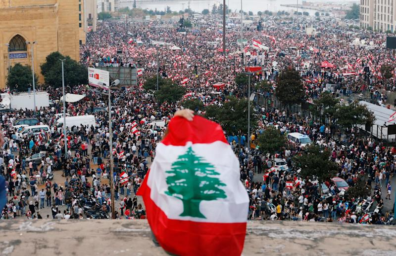 Anti-government protest in downtown Beirut, on Sunday, which continued into Monday: Reuters