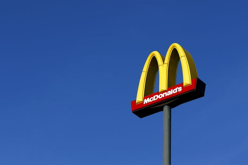 File photo of a sign for U.S. fast food restaurant chain McDonald's outside one of their restaurants in Sint-Pieters-Leeuw, near Brussels