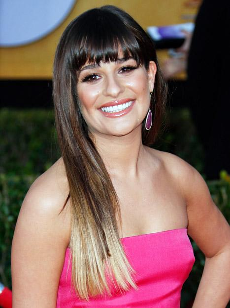 Lea Michele Debuts Two-Tone Blonde and Brunette Hair at SAG Awards