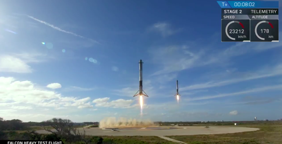 Two Falcon Heavy SpaceX rocket boosters landing in Florida.