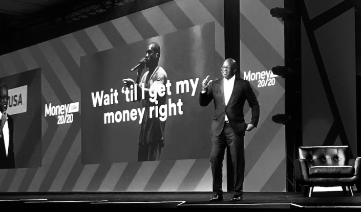 Frank Cooper III, the chief marketing officer of BlackRock, the $6.31 trillion investing giant, quotes Kanye West at Money 20/20 in Las Vegas. (Photo Credit: Alec Coughlin)