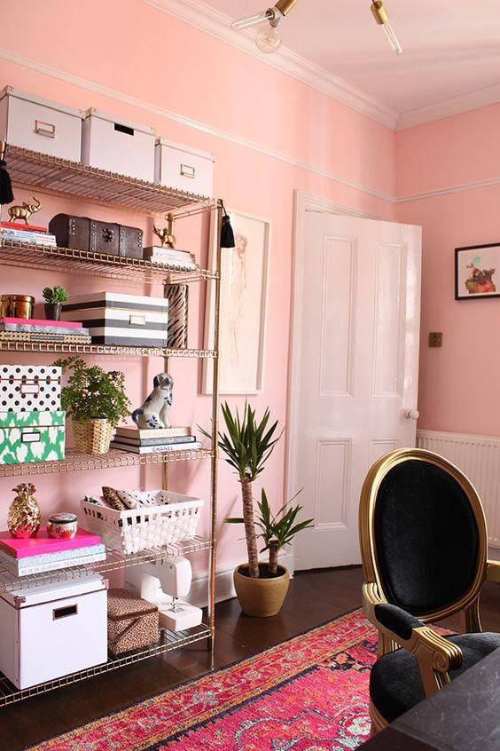 """<p>Dare to go dusty pink? The hue doesn't always have to be girly, it can also create a fab retro vibe. <a rel=""""nofollow"""" href=""""http://www.swoonworthy.co.uk/2015/05/spring-2015-one-room-challenge-eclectic-boho-glam-office-reveal.html/"""">[Photo: Swoon Worthy]</a> </p>"""