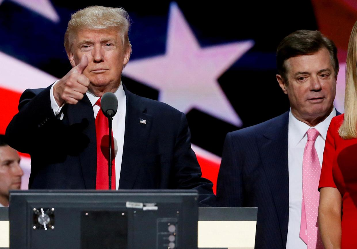 """<span class=""""s1"""">Republican nominee Donald Trump with campaign chairman Paul Manafort at the Republican National Convention in July 2016. (Photo: Rick Wilking/Reuters)</span>"""