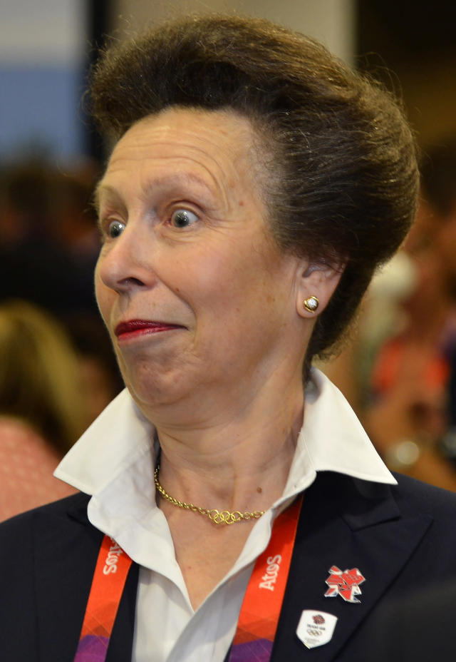 Princess Anne arrives for the the Opening Ceremony of the 2012 Olympic Summer Games at the Olympic Stadium in London, Friday, July 27, 2012. (AP Photo/Toby Melville, Pool)