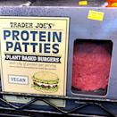 """<p>Think of these plant based burgers as Trader Joe's version of vegan veggie burgers. That sounds healthy right off the bat, but these miss the mark. """"I totally understand wanting to go the meat-free route, but these are not the way to go,"""" Groff says. """"TJ's Protein Patties contain a few questionable ingredients, but the real issue lies in the nutritive value. Just one patty contains 20g of fat (26% of your RDA of fat) and 450mg of sodium (20% of your RDA)."""" </p>"""