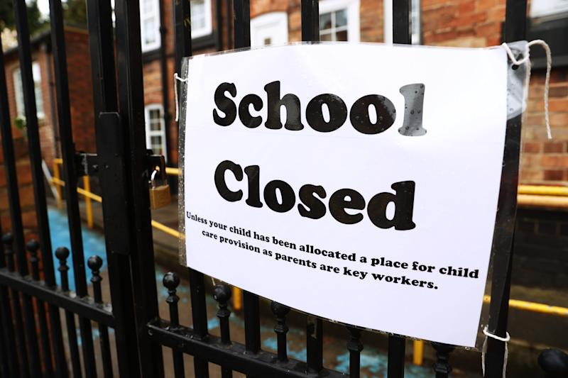 Signage outside a closed West Bridgford Infants School in Nottingham as the UK continues in lockdown to help curb the spread of the coronavirus. (Photo by Tim Goode/PA Images via Getty Images)