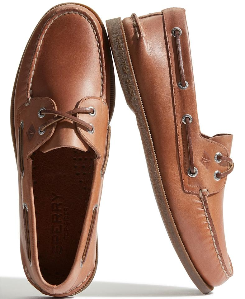 "<p>They'll always want to wear these <a href=""https://www.popsugar.com/buy/Sperry-Men-Authentic-Original-O-Boat-Shoes-496498?p_name=Sperry%20Men%27s%20Authentic%20Original%20A%2FO%20Boat%20Shoes&retailer=macys.com&pid=496498&price=95&evar1=savvy%3Aus&evar9=46700930&evar98=https%3A%2F%2Fwww.popsugar.com%2Fphoto-gallery%2F46700930%2Fimage%2F46700933%2FSperry-Men-Authentic-Original-O-Boat-Shoes&list1=shopping%2Cgifts%2Cgift%20guide%2Cgifts%20for%20him%2Cgifts%20for%20men%2Cmacys&prop13=api&pdata=1"" rel=""nofollow"" data-shoppable-link=""1"" target=""_blank"" class=""ga-track"" data-ga-category=""Related"" data-ga-label=""https://www.macys.com/shop/product/sperry-mens-authentic-original-a-o-boat-shoe?ID=154649&amp;CategoryID=143744&amp;swatchColor=Sahara&amp;swatchColor=Sahara"" data-ga-action=""In-Line Links"">Sperry Men's Authentic Original A/O Boat Shoes</a> ($95).</p>"
