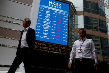 A panel outside the Hong Kong Exchanges displays top active securities in Hong Kong