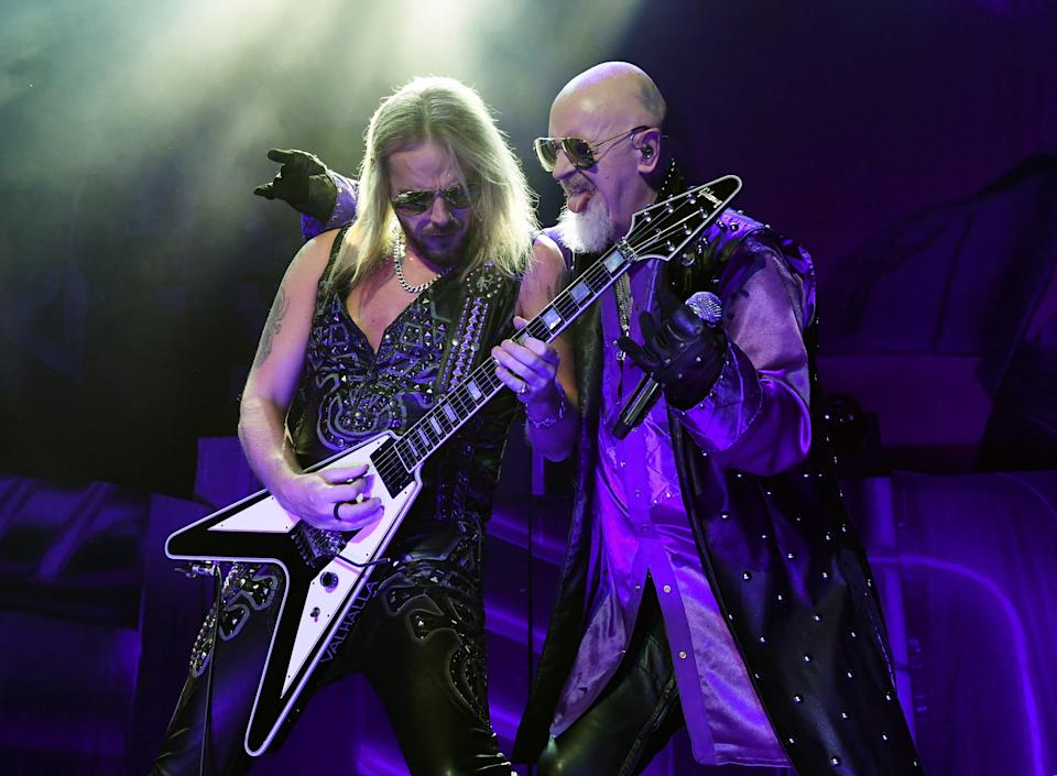 Judas Priest guitarist Richie Faulkner has been hospitalized with a heart condition causing the band to delay the rest of their U.S. tour dates.