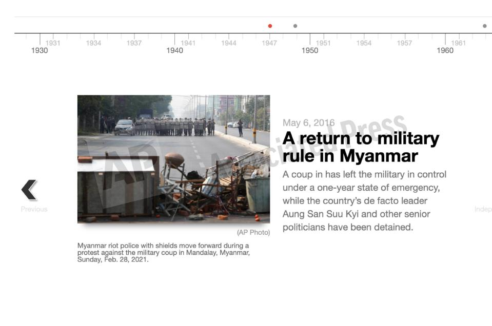 This preview image of an AP digital embed shows a timeline with key events in Myanmar's recent history. (AP Digital Embed)