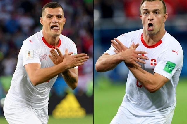 World Cup 2018: Switzerland's Granit Xhaka and Xherdan Shaqiri facing two-match ban as Fifa investigate 'political' goal celebrations against Serbia