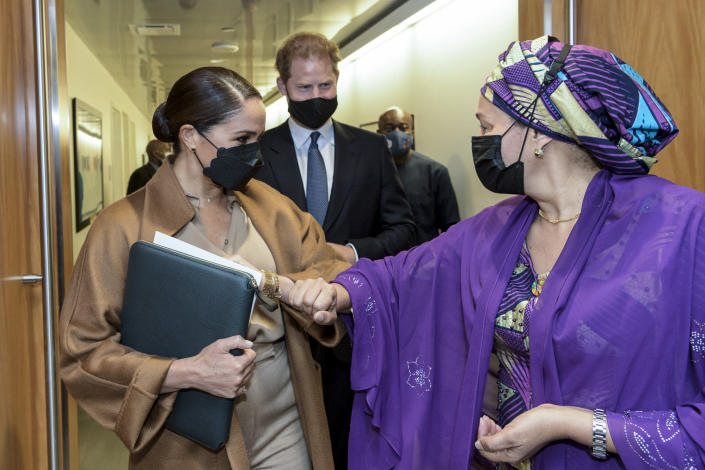 In this photo provided by the United Nations, U.S. Deputy Secretary-General Amina Mohammed, right, Meghan Markle, left, and Prince Harry meet during a visit to U.N. headquarters during the the 76th session of the United Nations General Assembly on Saturday, Sept. 25, 2021. (Manuel Elías/U.N. via AP)