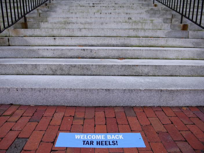 """The steps outside the closed Wilson Library at the campus of the University of North Carolina at Chapel Hill on August 18. <p class=""""copyright"""">Melissa Sue Gerrits/Getty Images</p>"""