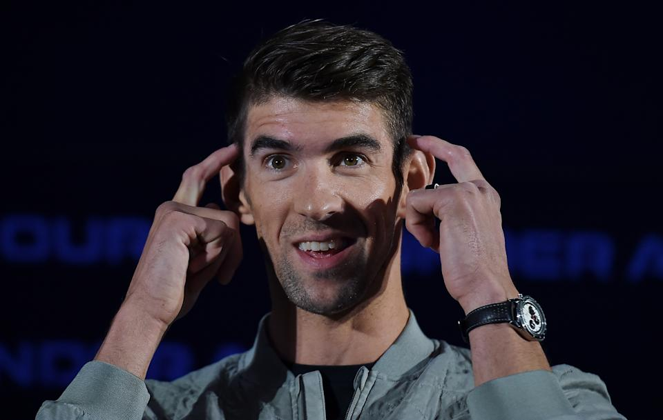 Former record-winning US Olympian swimmer Michael Phelps speaks at the 2020 Under Armour Human Performance Summit on January 14, 2020 in Baltimore, Maryland. (Photo by OLIVIER DOULIERY / AFP) (Photo by OLIVIER DOULIERY/AFP via Getty Images)