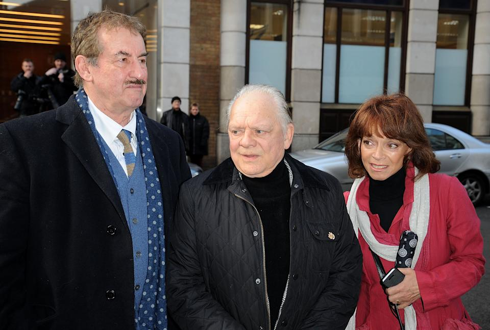 LONDON, ENGLAND - FEBRUARY 13:  (L-R) John Challis, Sir David Jason and Sue Holderness attends the funeral of actor Roger Lloyd-Pack at St Paul's Church on February 13, 2014 in London, England.  (Photo by Danny Martindale/WireImage)