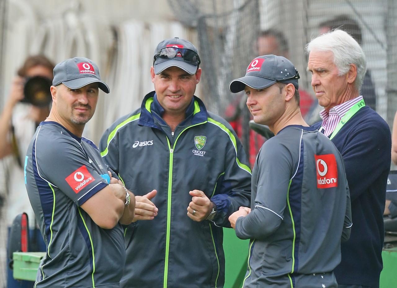 MELBOURNE, AUSTRALIA - DECEMBER 25:  Australian captain Michael Clarke (2nd R) talks with Australian Chairman of Selectors John Inverarity (R), Australian coach Mickey Arthur and Australian Cricket Team Physiotherapist Alex Kountouris (L) during an Australian nets session at Melbourne Cricket Ground on December 25, 2012 in Melbourne, Australia.  (Photo by Scott Barbour/Getty Images)