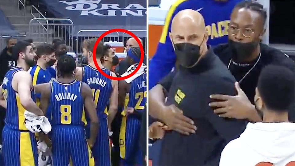 Indiana Pacers assistant coach Greg Foster and center Goga Bitadze had to be separated after an ugly confrontation during their blowout loss to the Sacramento Kings on Thursday. Pictures: Bally Sports Indiana