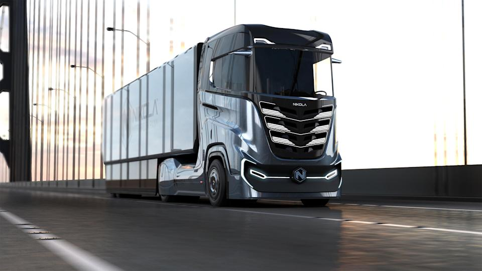 Nikola Motor unveiled Monday, Nov. 5, 2018, the Tre, a hydrogen-electric truck for Europe.