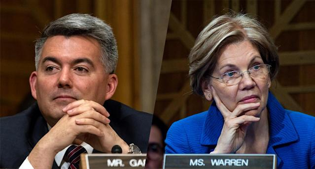 Sen. Cory Gardner, R-Colo., and Sen. Elizabeth Warren, D-Mass. (Photos: Cheriss May/NurPhoto via Getty Images, Pete Marovich/Getty Images)
