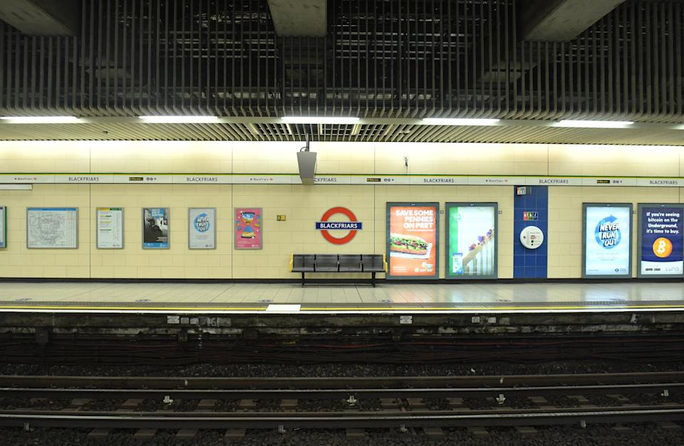 An empty platform at Blackfriars tube station in central London. Prime Minister Boris Johnson cancelled Christmas for almost 18 million people across London and eastern and south-east England following warnings from scientists of the rapid spread of the new variant of coronavirus. (Photo by Dominic Lipinski/PA Images via Getty Images)