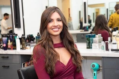 Angela Amezcua of 'The Bachelor' and 'Bachelor on Paradise' at BOMANE Salon in Beverly Hills