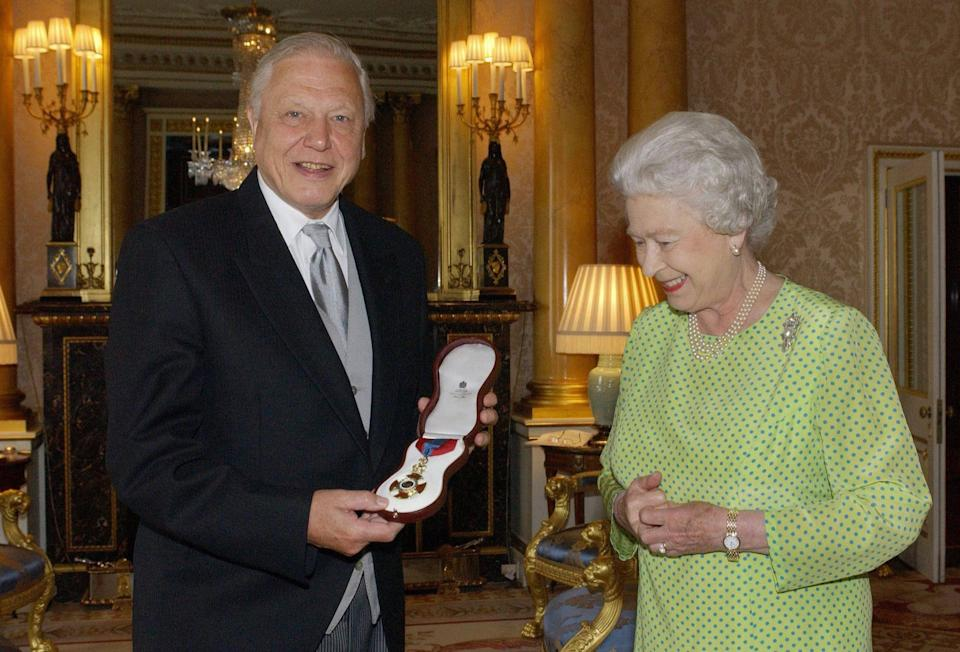 But 20 years later, the Queen went one step better by presenting Sir David Attenborough with the Insignia of the Order of Merit, a personal award recognising exceptional achievements in the advancement of arts, learning, literature and science. (Fiona Hanson/AFP)