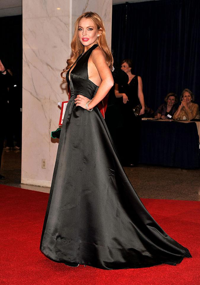 "<p class=""MsoNormal"">Lindsay Lohan was just one of many celebs who was lucky enough to score an invite to the 2012 White House Correspondents' Association Dinner held at the Washington Hilton Hotel in Washington, D.C, on Saturday night. The annual event is not only attended by the president and the first lady, but many other government officials, members of the press corps, and even Hollywood stars. Though the troubled actress -- who was the guest of Fox's Greta Van Susteren -- cleaned up quite nicely for the soiree, wearing a voluminous halter gown and her red tresses down, some critics like <a target=""_blank"" href=""http://www.hollywoodlife.com/2012/04/29/lindsay-lohan-sideboob-white-house-dinner-pics/?v02"">HollywoodLife</a> are questioning whether or not the plunging neckline and revealing side panel were appropriate for the occasion. Of course, it wouldn't be the first time Lohan's raised eyebrows by donning a racy look for a serious event. Remember all the sexy ensembles she sported at her various court dates in 2011?</p>"