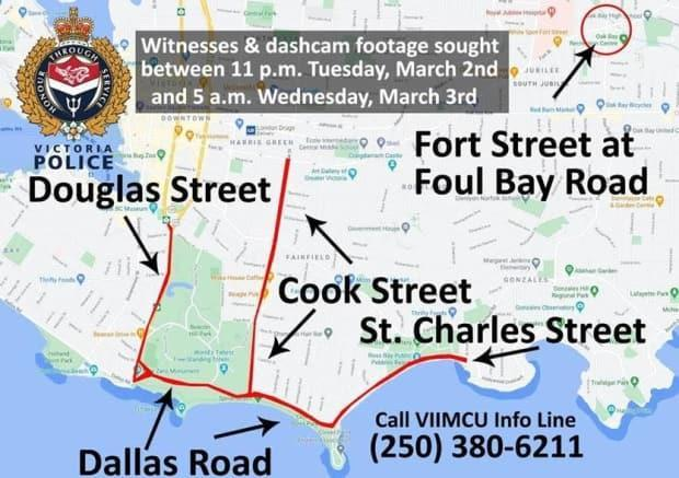 Victoria homicide investigators are searching for witnesses in the areas described in the map above between the hours of 11 p.m. on Tuesday, March 2, and 5 a.m. on Wednesday, March 3.