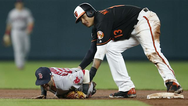 This continues the beef that began after Manny Machado injured Dustin Pedroia on a slide.