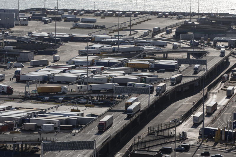 DOVER, ENGLAND - APRIL 04: Lorries arrive and depart from Dover Ferry Terminal on April 4, 2019 in Dover, England. It has been reported the Theresa May has written to the EU asking for an extension to leaving the EU until June 30, 2019. (Photo by Dan Kitwood/Getty Images)