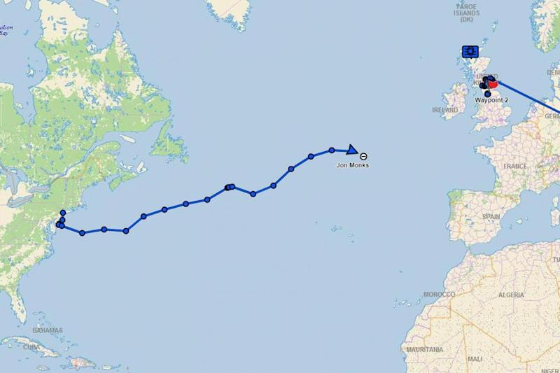 A live tracker shows Duncan Hutchinson's route across the Atlantic which cut out half way due to a technical failure (Duncan Hutchinson)