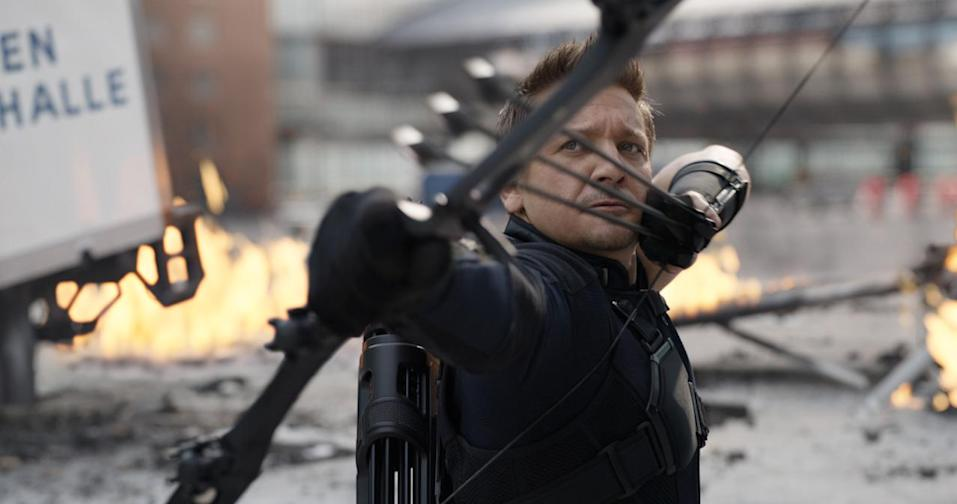 <p>Roused from retirement to join Cap's call, the ace archer brings humor and humanity to the team. <i>(Photo: Disney)</i><br></p>