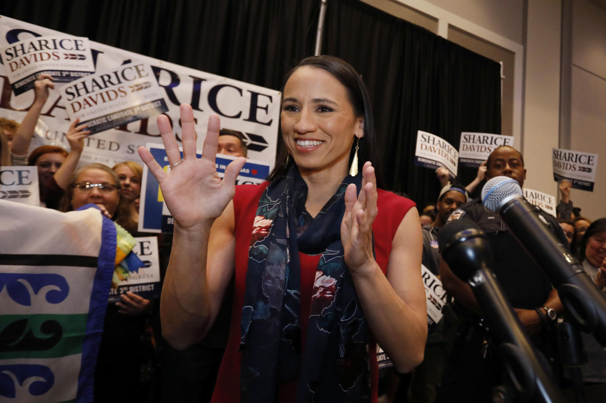 Democratic house candidate Sharice Davids prepares to speak to supporters at a victory party in Olathe, Kan., on Nov. 6, 2018. (Photo: Colin E. Braley/AP)