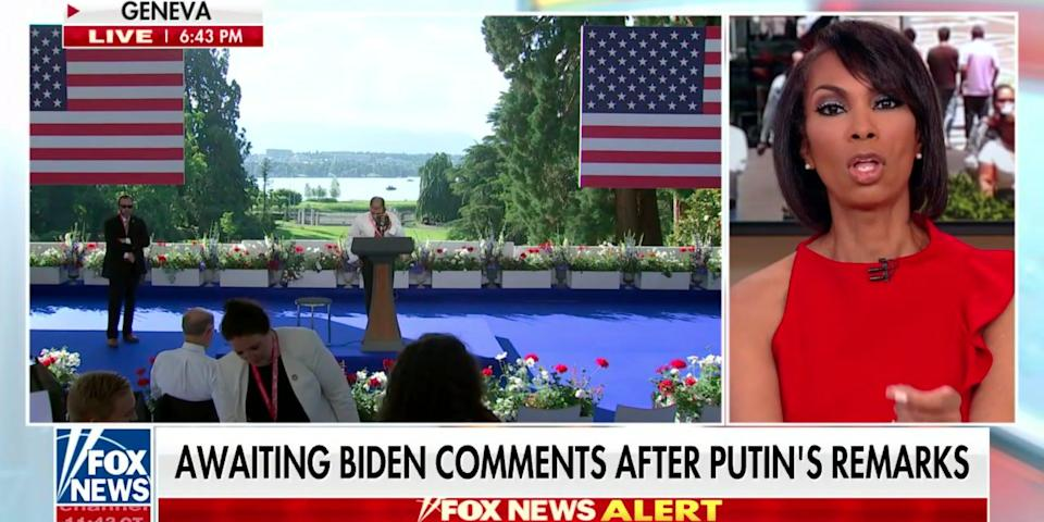 """Fox News anchor Harris Faulkner reacts to Russian President Vladimir Putin's solo press conference in Geneva, Switzerland. A chyron underneath her reads """"Awaiting Biden comments after Putin's remarks."""""""