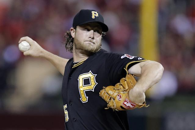 Pittsburgh Pirates starter Gerrit Cole pitches against the St. Louis Cardinals in the first inning of Game 5 of a National League baseball division series, Wednesday, Oct. 9, 2013, in St. Louis. (AP Photo/Charlie Riedel)