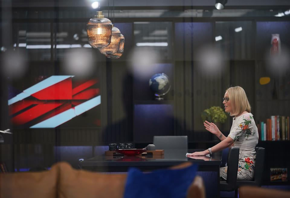 Presenter Michelle Dewberry broadcasts from a studio during the launch event for new TV channel GB News at The Point in Paddington, London. Picture date: Sunday June 13, 2021.