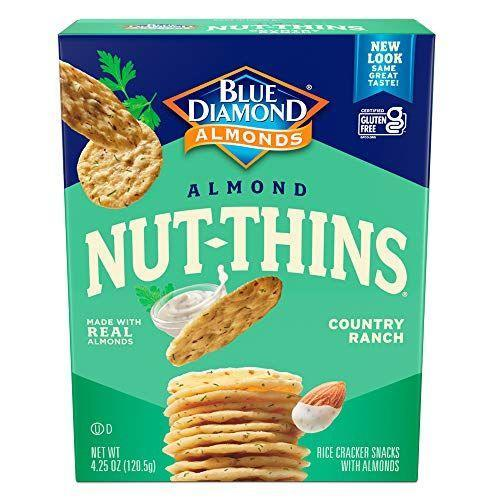 """<p><strong>Blue Diamond Almonds</strong></p><p><strong>$34.15</strong></p><p><a href=""""https://www.amazon.com/dp/B000HPBRA0?tag=syn-yahoo-20&ascsubtag=%5Bartid%7C2141.g.37871941%5Bsrc%7Cyahoo-us"""" rel=""""nofollow noopener"""" target=""""_blank"""" data-ylk=""""slk:Shop Now"""" class=""""link rapid-noclick-resp"""">Shop Now</a></p><p>A nut-based cracker keeps carbs in check, while adding a ton of extra flavor, protein, and healthy fats to the mix. Pair them with your favorite cheese, like <a href=""""https://www.amazon.com/Laughing-Cow-Cheese-Original-Wedges/dp/B000QG3IMA/?tag=syn-yahoo-20&ascsubtag=%5Bartid%7C2141.g.37871941%5Bsrc%7Cyahoo-us"""" rel=""""nofollow noopener"""" target=""""_blank"""" data-ylk=""""slk:The Laughing Cow spreadable cheese"""" class=""""link rapid-noclick-resp"""">The Laughing Cow spreadable cheese</a>, which are portioned out, low-carb, and oh-so-good. </p>"""