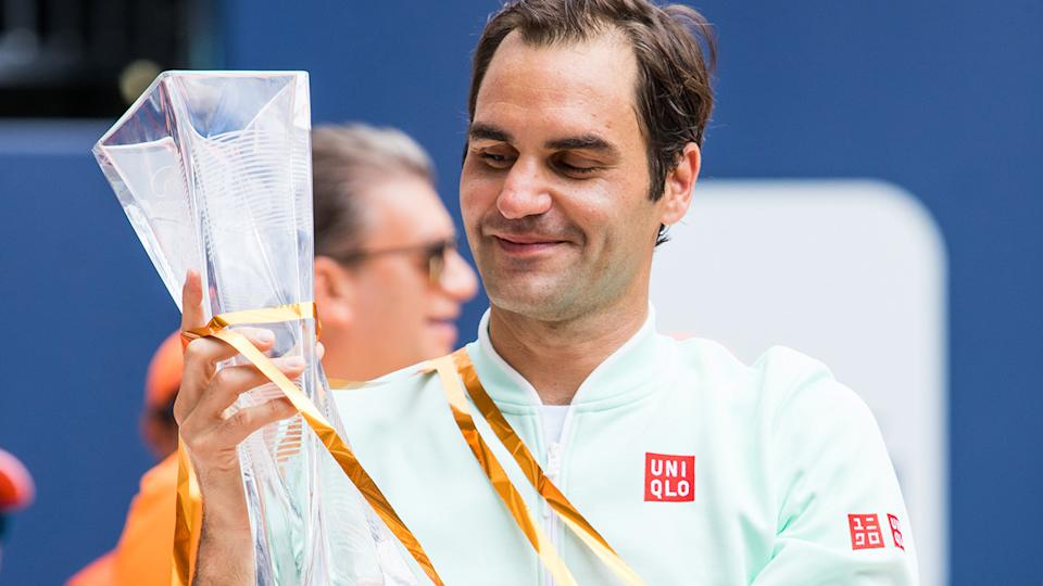 Roger Federer, pictured here after winning the Miami Open in 2019.