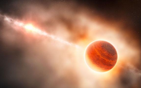 This artist's impression shows the formation of a gas giant planet in the ring of dust around the young star HD 100546. This system is also suspected to contain another large planet orbiting closer to the star. Image released Feb. 28, 2013.