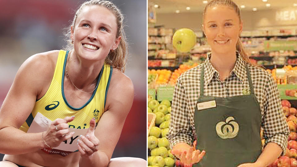 Riley Day, pictured here at Woolworths before the Tokyo Olympics.