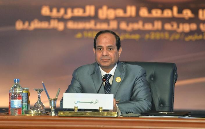Egyptian President Abdel Fattah al-Sisi during the Arab League summit at the Red Sea resort of Sharm El-Sheikh on March 29, 2015 (AFP Photo/Mohamed El-Shahed)