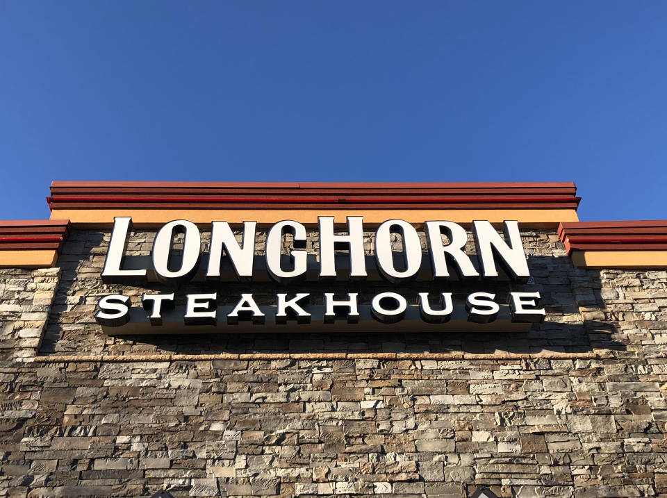 Longhorn Steakhouse exterior sign, Rego Park Mall, Queens, NY. (Photo by: Lindsey NicholsonEducation Images/Universal Images Group via Getty Images)