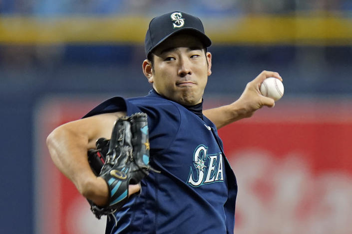 Seattle Mariners starting pitcher Yusei Kikuchi, of Japan, delivers to the Tampa Bay Rays during the first inning of a baseball game Tuesday, Aug. 3, 2021, in St. Petersburg, Fla. (AP Photo/Chris O'Meara)