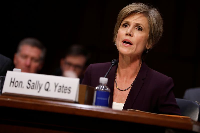 Former Acting Attorney General Sally Yates testifies about potential Russian interference in the presidential election before the Senate Judiciary Committee on Capitol Hill