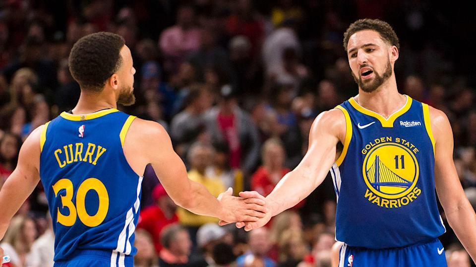 Pictured here, Steph Curry and Golden State teammate Klay Thompson, who has suffered more injury heartbreak.