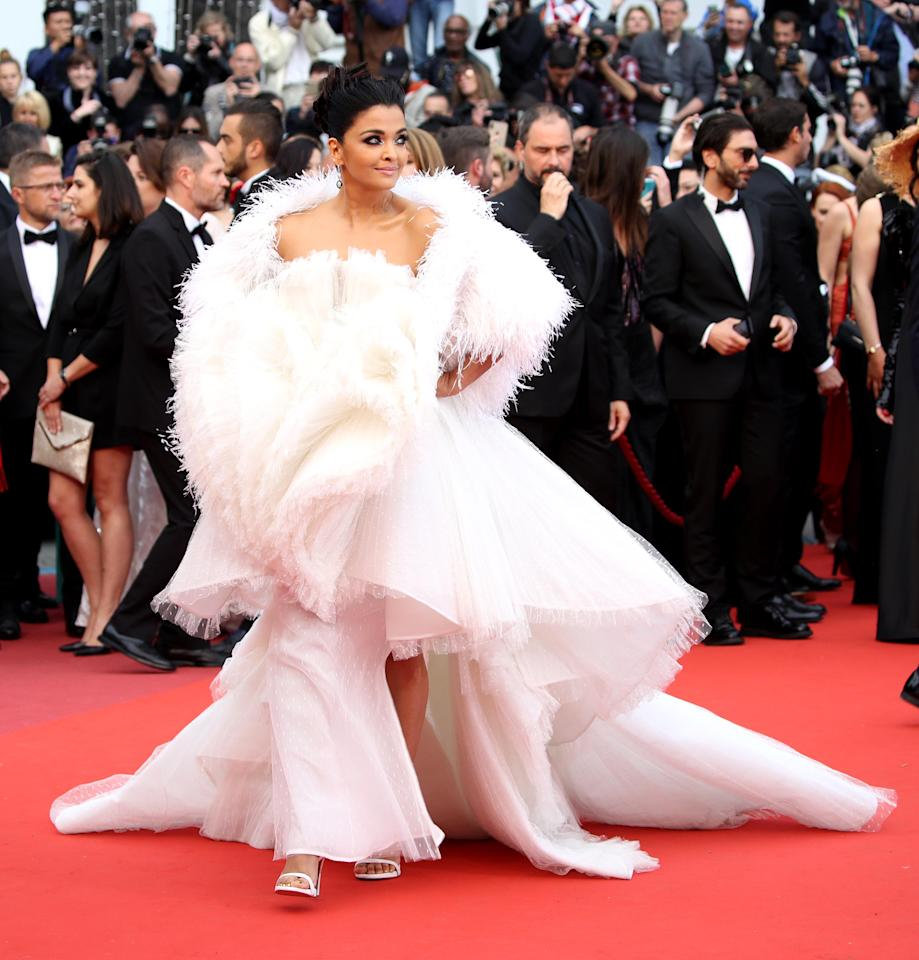 Granted that she is one of the most beautiful women in the world, but adding layers and layers of puffy fabric is not flattering on the body, especially on an international red carpet event. This outfit does nothing for her beauty or her sleek figure.